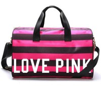 PINK Stripe Print Durable Sport Exercise Gym Hand Pocket Travel Luggage Bag