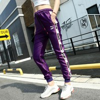 Puma Taped Side Stripe Purple Casual Sport Pants Sweatpants