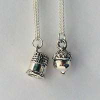 Peter Pan & Wendy Kiss Thimble and Acorn TWO Necklace Set - Men - Women - Sweetheart - Lover - Sister - Best Friend (2 Necklaces)