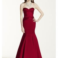 Long Strapless Satin Fit and Flare Dress - Davids Bridal