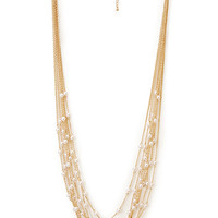 FOREVER 21 Layered Faux Pearl Necklace Gold/Cream One