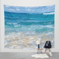 Ocean Wall Tapestry, deep, blue, turquoise, wave, beach wall tapestry, sea wall hanging decor, Hawaii, grommets, 26x36, 50x59, 88x104 Inches