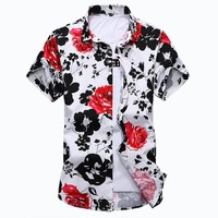 2017 Summer Mens Dress Shirts Casual Cotton Men Floral Shirt Man Short Sleeve Stylish Shirt Fashion Plus Size M-6XL 7XL