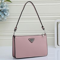 PRADA Women's New Product Pure Color Shopping Tote Triangle Logo Crossbody Bag Pink