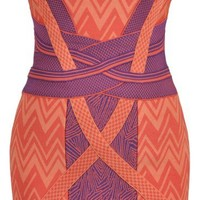 Bandage Bodycon Celebrity Dress..Coral & Purple BRAND NEW..Perfect for the races