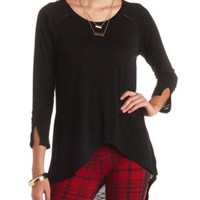 Long Sleeve High-Low Tee by Charlotte Russe