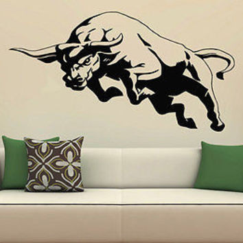 Wall Decor Vinyl Decal Sticker Mural attacker wave Bull Animal S1945