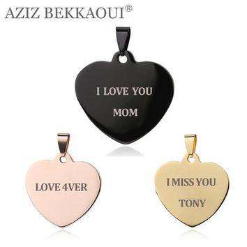 Engrave Name ID Tag Pendants & necklaces Love Heart-shape Stainless Steel Heart Pendant Necklaces Unique Customized Logo Jewelry