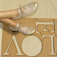Women shoes, oxford shoes, gold leather, gold disco