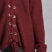 Lace-Up Grommet Sweater