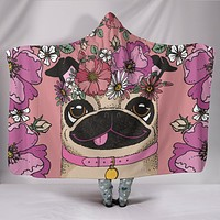 Floral Pug Hooded Blanket