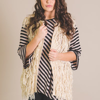 For The Final Touch Fringe Vest-Plus Size