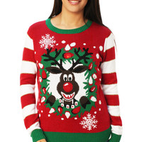 Ugly Christmas Sweater Women's Rudolph LED Light Up Sweater