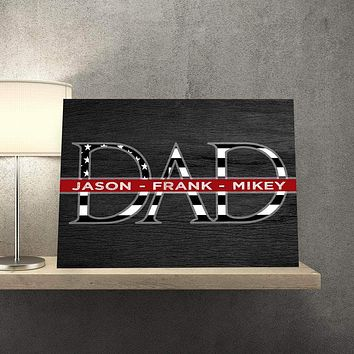 Father's Day Thin Red Line Custom Canvas Set