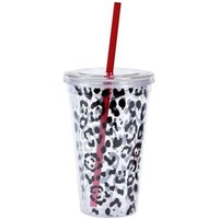 Leopard Print Double Wall Tumbler with Straw-Party City
