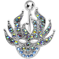 Blue Green Crystal Mardi Gras Masquerade Belly Ring | Body Candy Body Jewelry