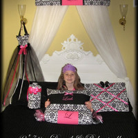 Embroidered FREE Bed Canopy Crown Personalized Upholstered 40in French Damask Hot Pink