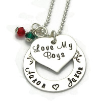 Love My Boys or Girls or Kids Heart and Washer Necklace with Birthstones
