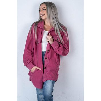 Plush Button Up Jacket in BERRY