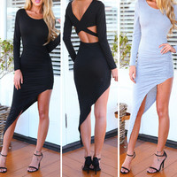 Long Sleeve Cross Back Ruched Asymmetrical hem Dress