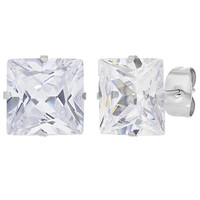 Men's Stainless Steel 10mm Prong Set Clear Square Crystal Earrings