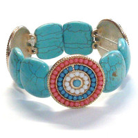 Handmade Stretch Bracelet with Turquoise Magnesite Stone Bead Sliders