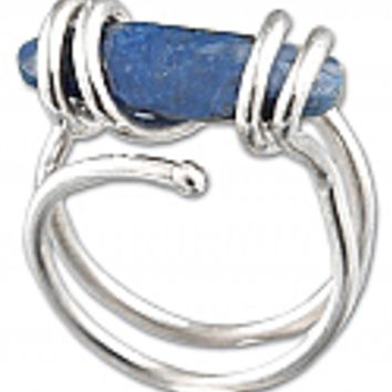 Wrapped Sterling Silver and Lapis Lazuli Ring