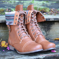 SZ 5.5 Southern Pines Whisky Tribal Combat Boots