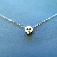 Tiny Cute, Skull Pendant, Sterling Silver Chain, Necklace