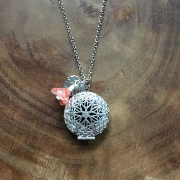 Silver Locket, Essential Oil Necklace Diffuser, Locket Essential Oil Necklace, Floral Locket Necklace, Flower Necklace, Yoga  Zen Jewelry
