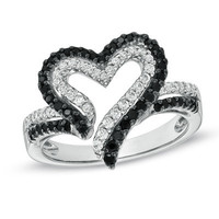 1/2 CT. T.W. Enhanced Black and White Diamond Heart Ring in Sterling Silver - View All Rings - Zales