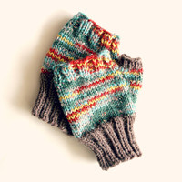 Small fingerless mittens, wool gloves, fingerless mittens, texting gloves, multi color