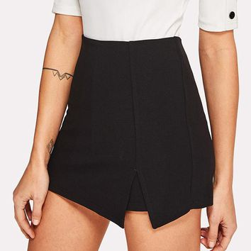 Split Front Solid Skirt Shorts Mid Waist Zipper Fly Shorts Women Work Wear Elegant Shorts