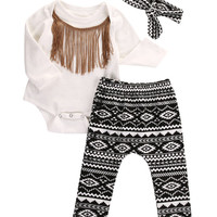 1 Set Newborn Infant Baby's Sets Kids Girl Tassels Bodysuit&Legging Pants&Bow Headband Outfit Baby Clothing for Children Girls