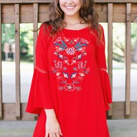 Embroidered Boho Dress, Tomato