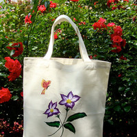 Hand Painted And Beaded Tote Bag With Purple Flowers and a Butterfly