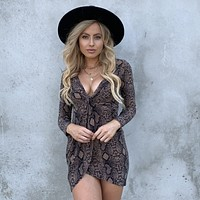 Take A Hike Snakeskin Long Sleeve Dress