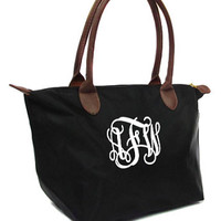 Monogrammed Khaki and Brown Champ Purse