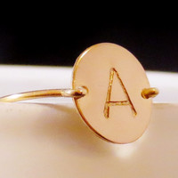 Personalized Gold Initial Ring, Custom Handstamped Disc, Wedding Bridal Bridesmaids, Mom Grandma Sister Aunt Gift, Valentines Mother's Day