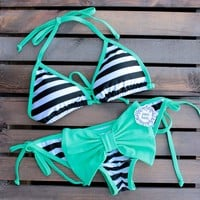 final sale - sassy striped sailor gal bikini with mint bow