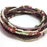 Seed bead wrap stretch bracelets, stacking, beaded, boho anklet, bohemian, stretchy stackable multi strand, black. white, brown, red, orange