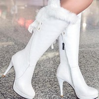 New White Round Toe Stiletto Lace Faux Fur Patchwork Fashion Knee-High Boots
