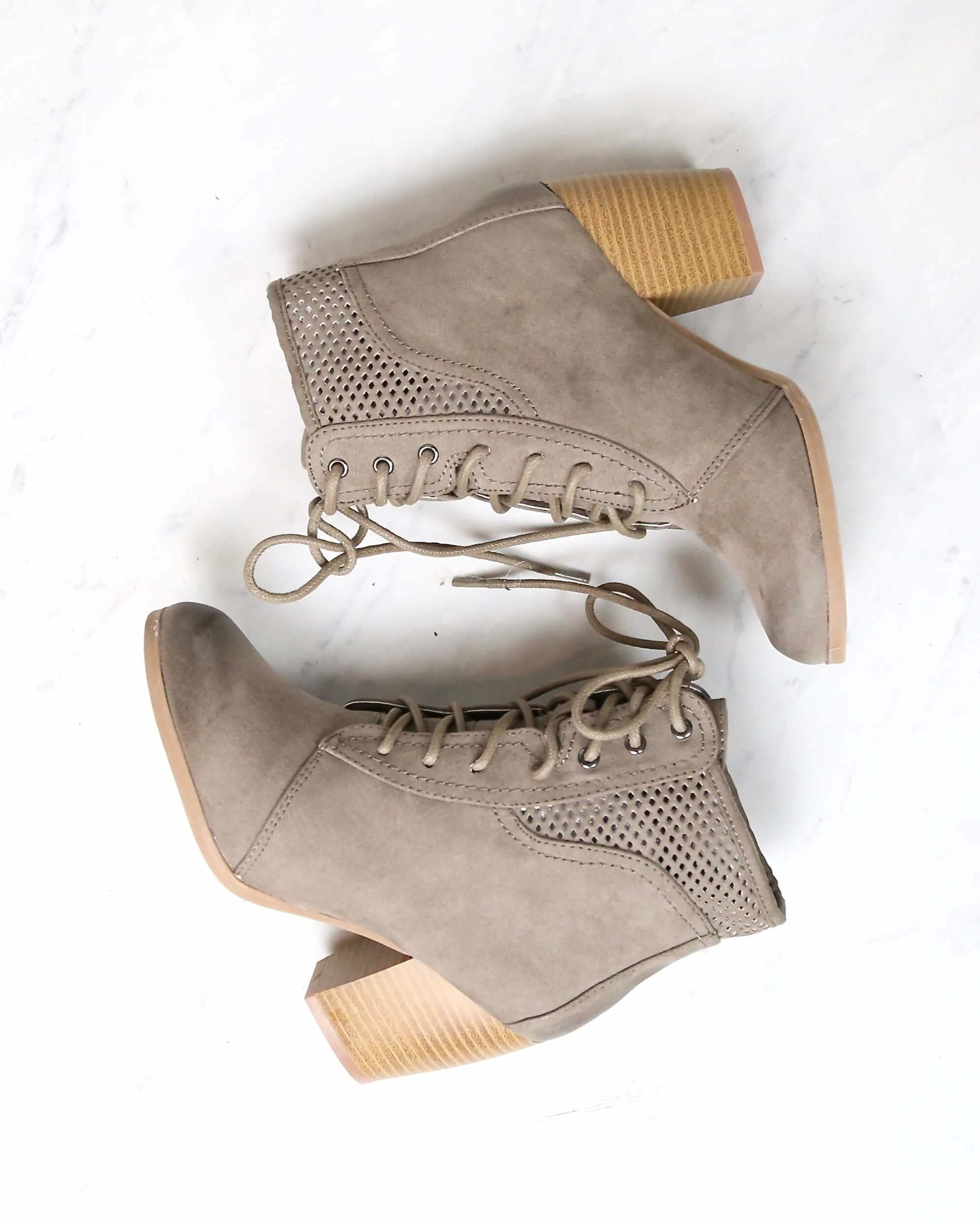 Image of Point the Way Perforated Ankle Boots in Taupe