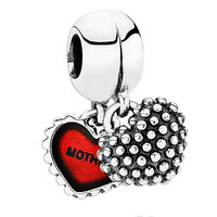 PANDORA Piece of My Heart Mother/Daughter with Red Enamel Dangle