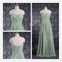 Long Evening Dresses Sexy A-line Sweetheart Ruffle Sash Long Bridesmaid Dress Party Dress Evening Dress Prom Dress Formal Dress 2014