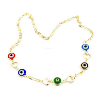 """Evil Eye and Hearts Mariner 18"""" Chain 18kt Cold Plated"""