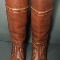 FRYE 77230 JANE 14L Brown Leather Riding Motorcycle Boots Women's Size 6.5