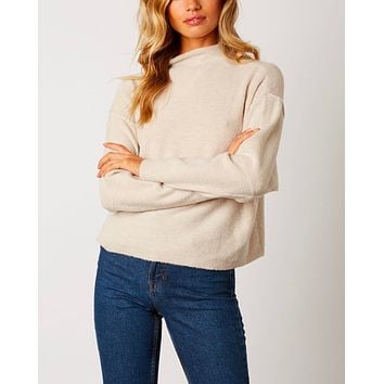 Cotton Candy LA - Mock Neck Ribbed Trim Dropped Shoulders Sweater in Oatmeal