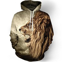 Fashion lion hooded shirts men printed 3d hoodies Casual graphic hoodie funny Sweat shirt tie-dye Sweatshirt tops