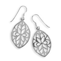 French Wire Earrings with Cut Out Marquise Design